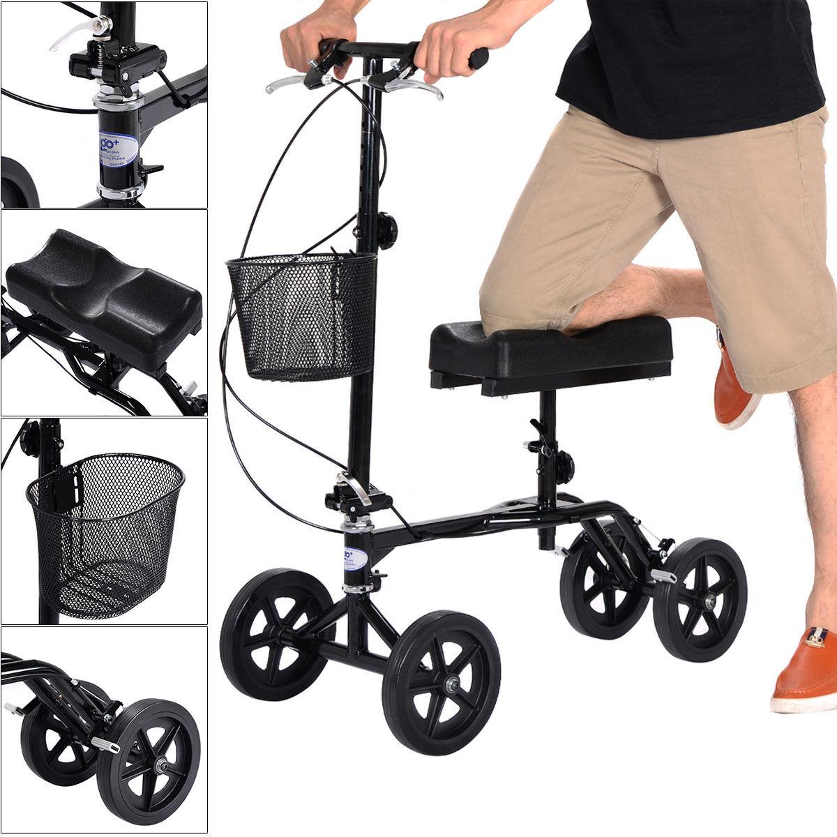 Costway Steerable Foldable Knee Walker Scooter Turning Brake Basket Drive Cart Black