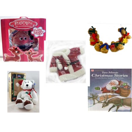 Christmas Fun Gift Bundle [5 Piece] - Rudolph Red-nosed Reindeer Fillable Xmas Ornament - String of Gingerbread  w/ Wood Stars & Hearts 4.5' Feet  - 2011 Avon Santa Outfit Wine Bottle Cover  - Limit](Rudolf Outfit)