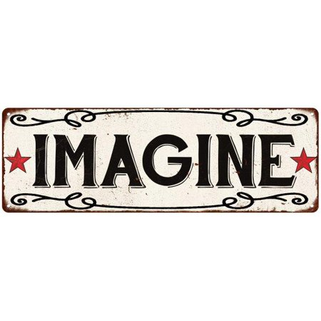 Old Style Metal - IMAGINE Country Style w/Red Stars Vintage Look Metal Sign 6x18 Old Advertising Man Cave Game Room M6180799