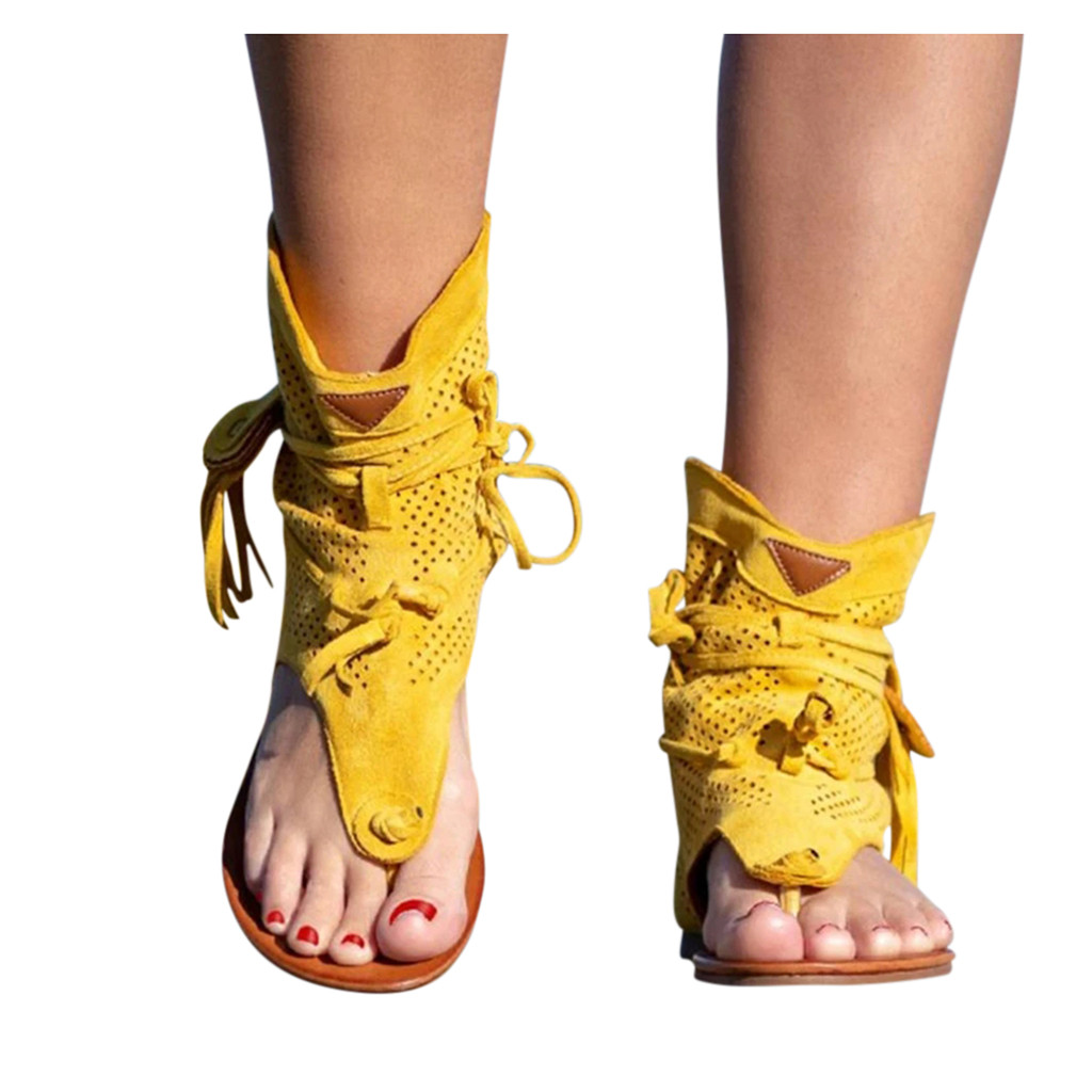 Details about  /Women Beach Flat Ankle Fringe Tassels Gladiator Summer Sandals T Strap Shoes New