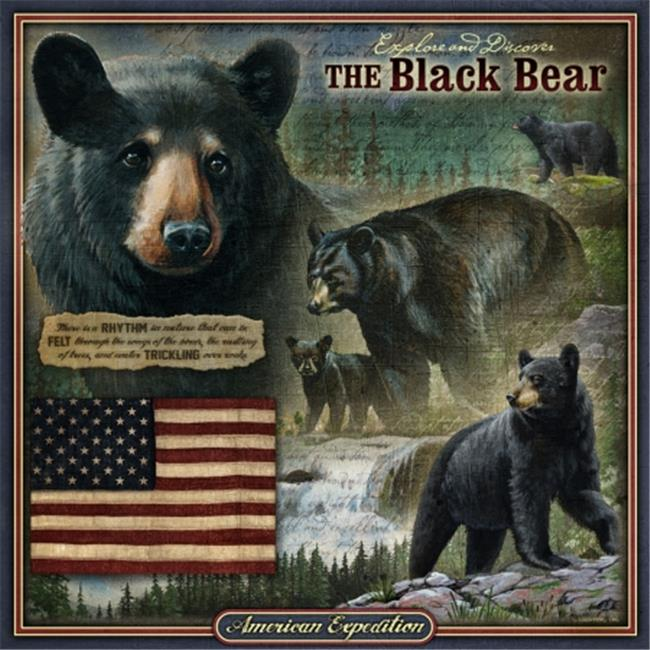 Ideaman TNSQ-101 Square Tin Art Sign - Black Bear