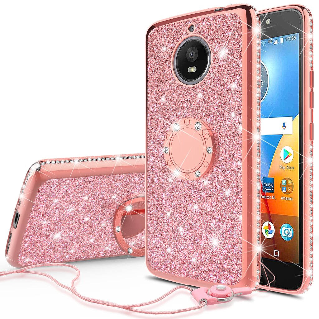 Glitter Cute Phone Case with Kickstand Compatible for Moto E4 Case,Moto E4 Phone case,Bling Diamond Rhinestone Bumper Ring Stand Sparkly Clear Thin Soft Girls Women Protective for Moto E4 (Rose Gold)