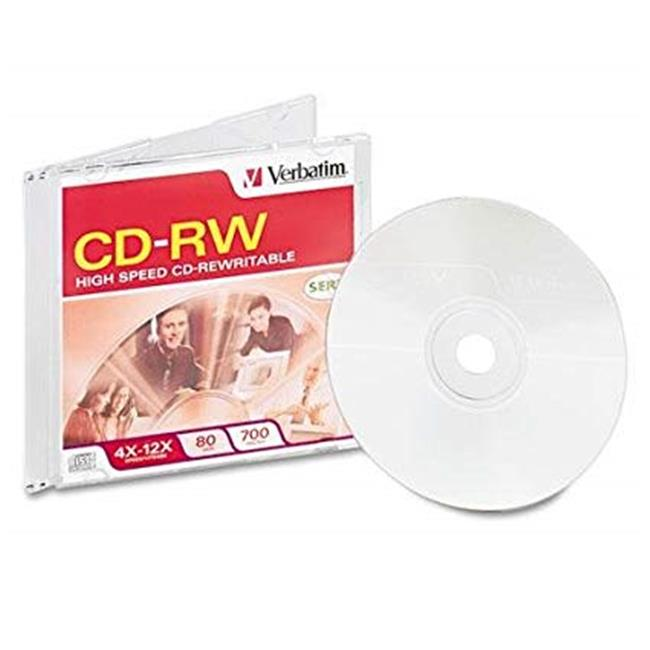 Verbatim 95161 CD-RW 700MB 4X-12X High Speed, Branded Surface