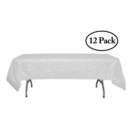 Exquisite 12 Pack Premium Rectangular Plastic Tablecloth, White, 54
