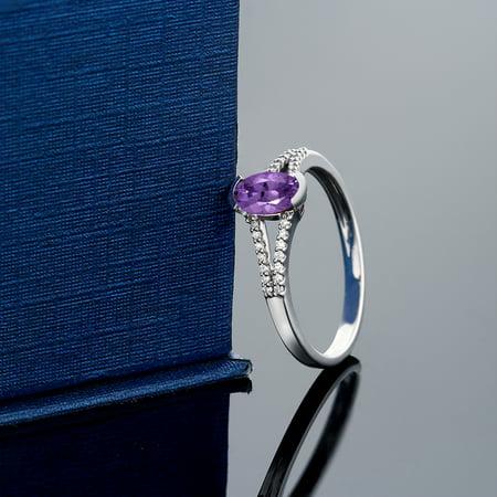 10K White Gold Women's Oval Purple Amethyst Diamond Ring - image 1 de 4