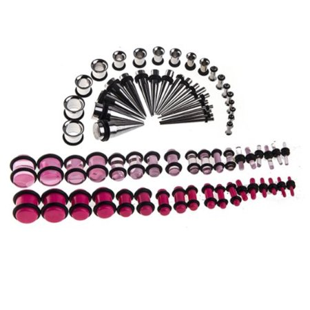 BodyJ4You Gauges Kit Surgical Steel Tapers Tunnels Pink Acrylic Plugs 14G-00G Piercing Ear Stretching Jewelry 72 Pieces by