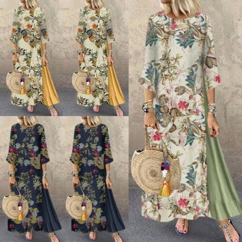 Women Cotton Linen Maxi Dress Long Sleeve Boho Button Kaftan Tunic Top Plus Size