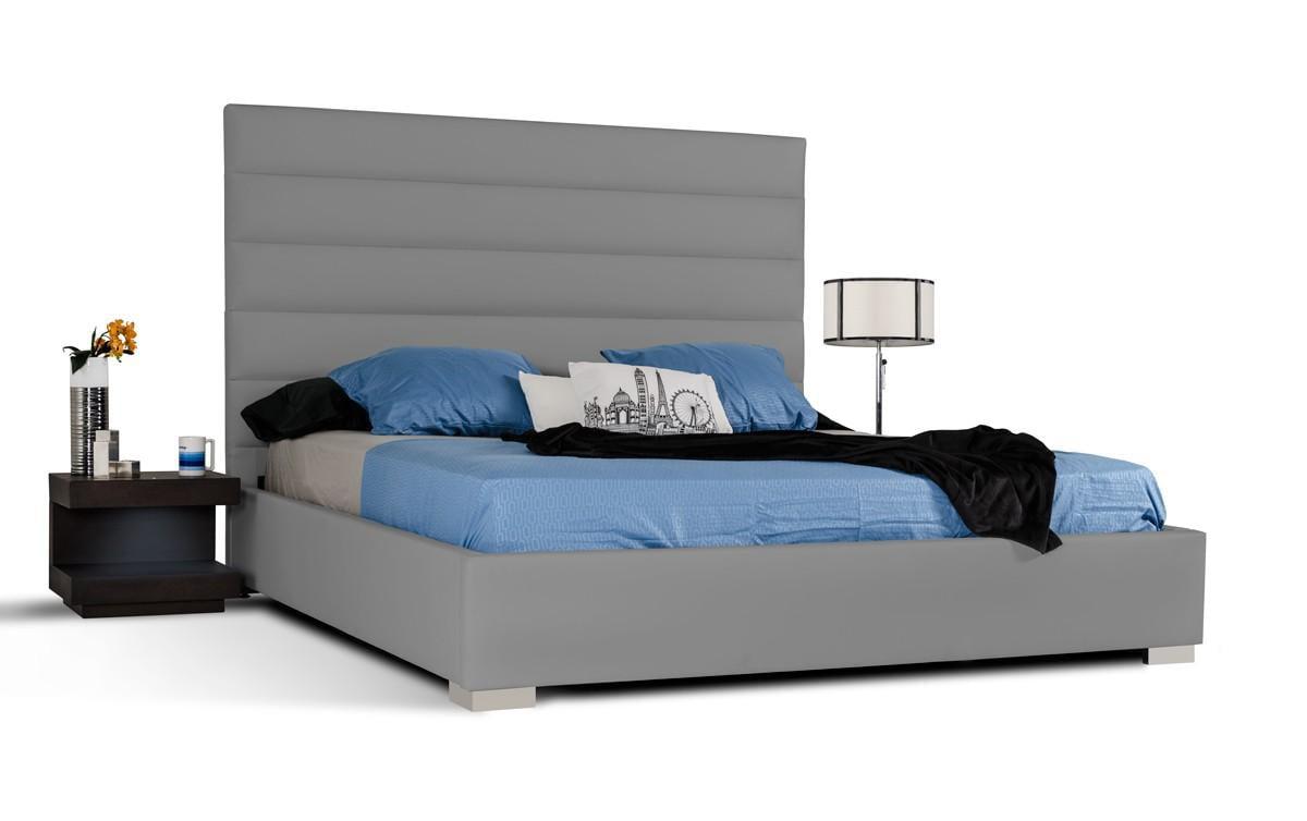Modern Grey Leatherette Upholstery Queen Platform Bedroom Set 2Pcs Modrest  Kasia