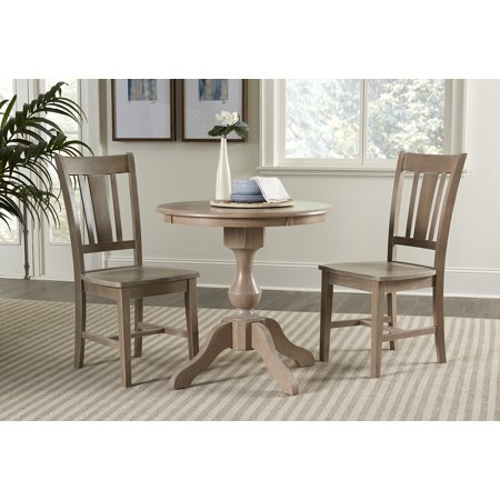 "30"" Round Top Dining Table with 2 San Remo Chairs - Washed Gray Taupe - 3 Piece Set"