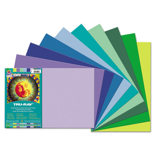 "Tru-Ray Construction Paper, Cool Assorted, 12"" x 18"", 50 Sheets"