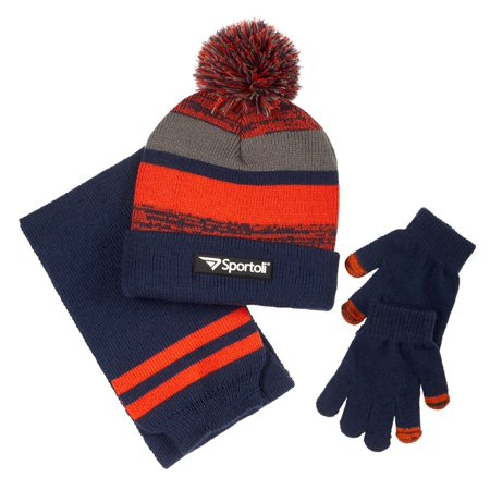 f986be20f97eb1 Sportoli Men's and Boys' Kids 3-Piece Striped Knit Cold Weather Accessory  Set Warm Fleece Lined Pull On Hat Scarf and Gloves