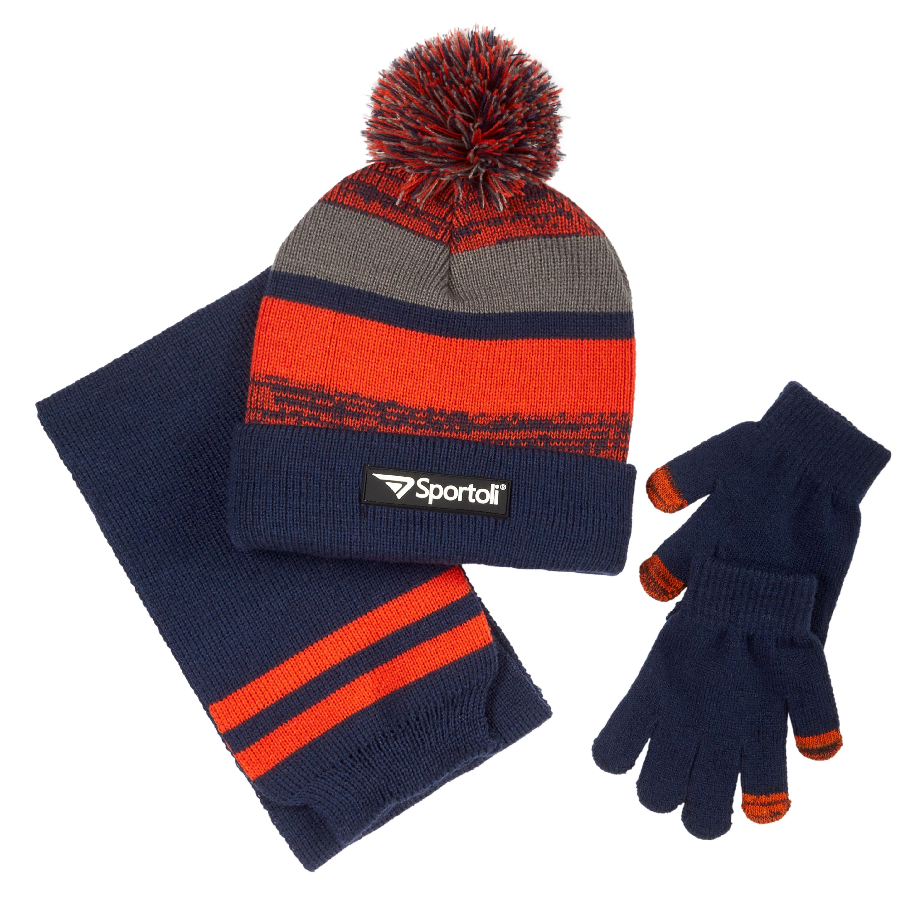 Sportoli Men's and Boys' Kids 3-Piece Striped Knit Cold Weather Accessory Set Warm Fleece Lined Pull On Hat Scarf and Gloves