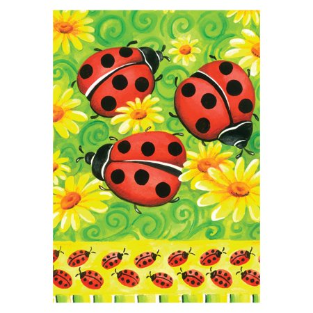 Toland Home Garden Ladybugs on Green Flag - Glow In The Dark Flag