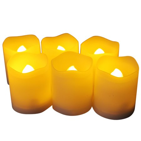EcoGecko Set of 6 Indoor/Outdoor Votive Flameless LED Candles with Timer, 400 hour Battery Life - Battery Operated Outdoor Chandelier