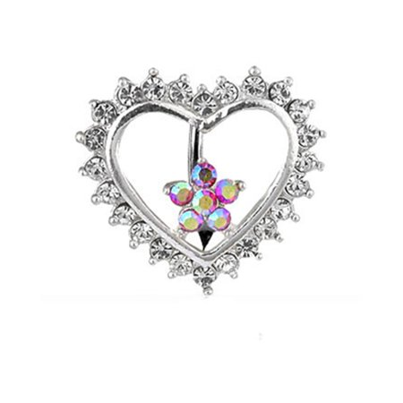 Jeweled Flower And Heart Reversed Belly - Jeweled Dragonfly Belly Ring