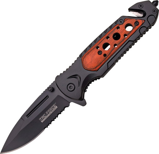 TAC Force TF-637 Series Assisted Opening Folding Knife, Black Half-Serrated Blade, 4-1/2-Inch Close