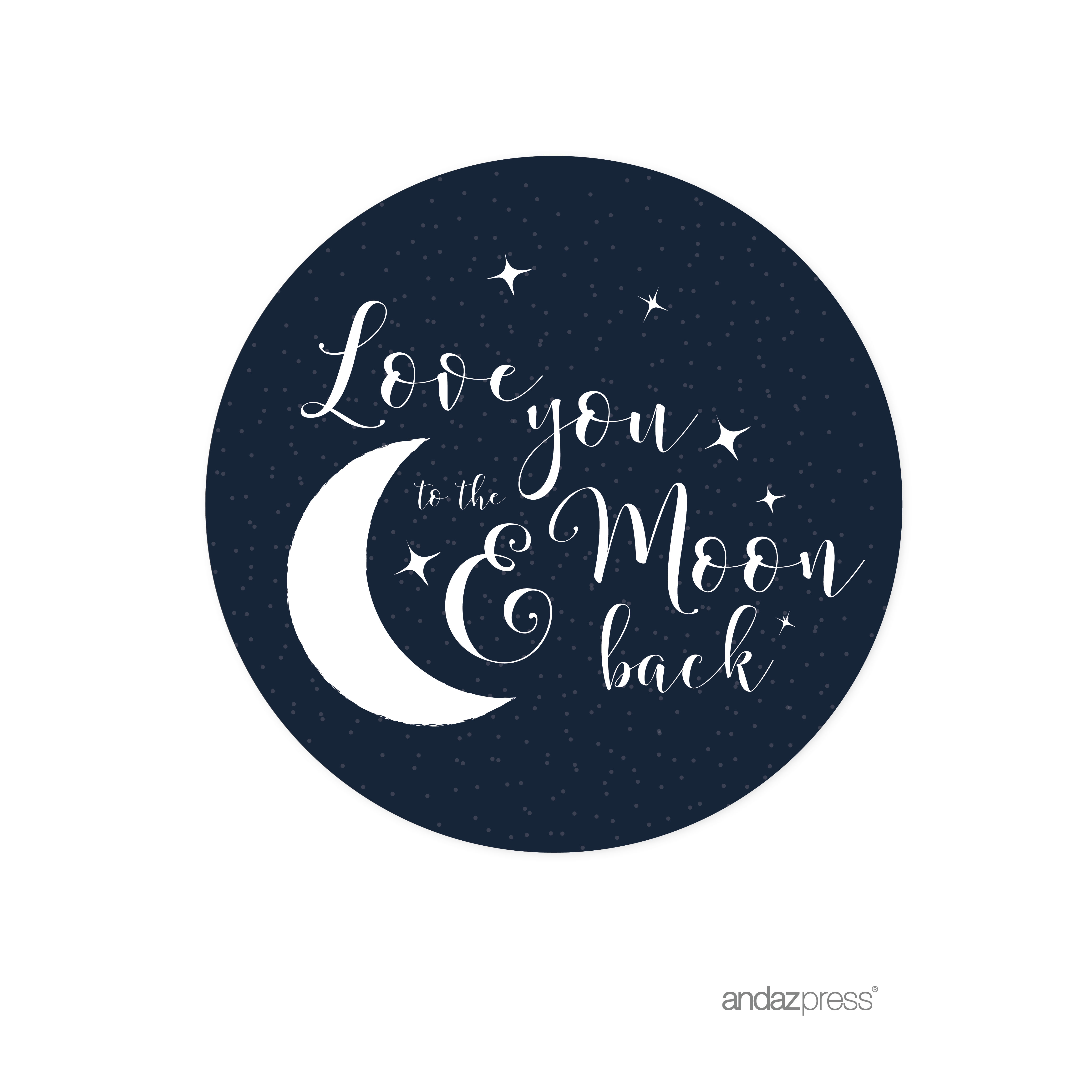 Love You to the Moon and Back Wedding Cupcake Topper DIY Party Favors Kit, 20-Pack