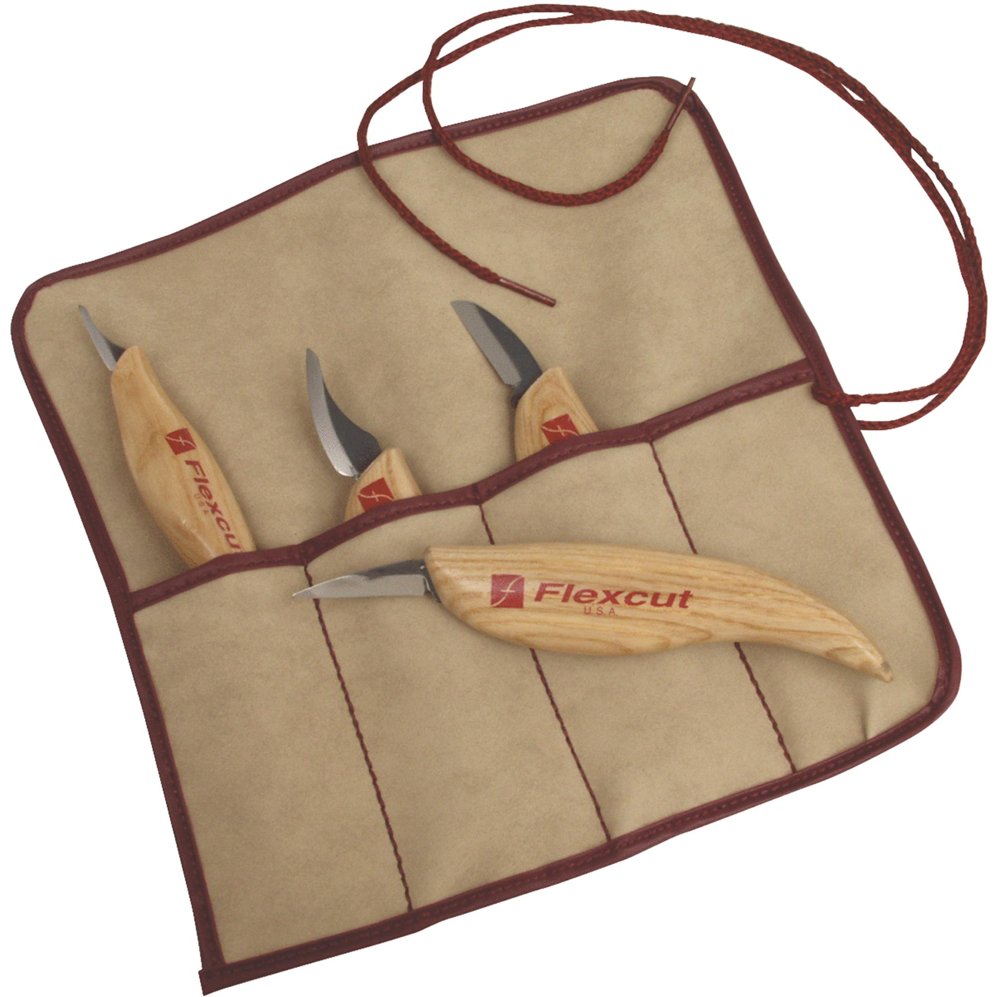 4-Piece Wood Carving Knife Set by Flexcut Tool