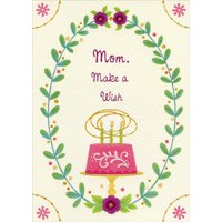 Designer Greetings Pink Cake with Green Candles: Make a Wish Birthday Card for Mom