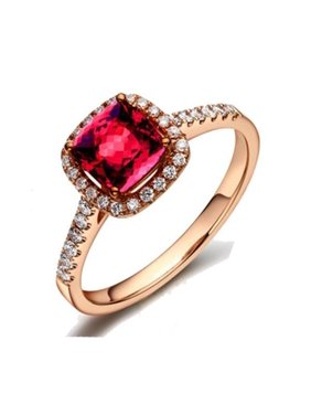 db5140c1b35cb5 Product Image Beautiful 1.5 Carat Cushion Cut Real Ruby and Diamond  Engagement Ring in 18k Gold Over Sterling