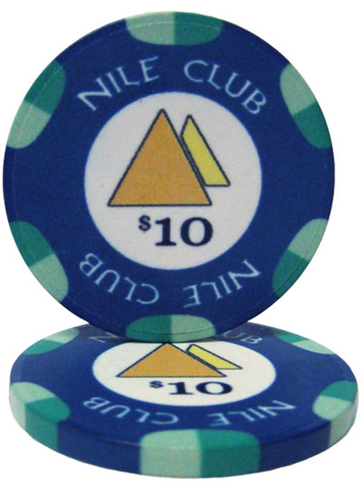 """Roll of 25 $10 Nile Club 10 Gram Ceramic Poker Chip"" by BryBelly"