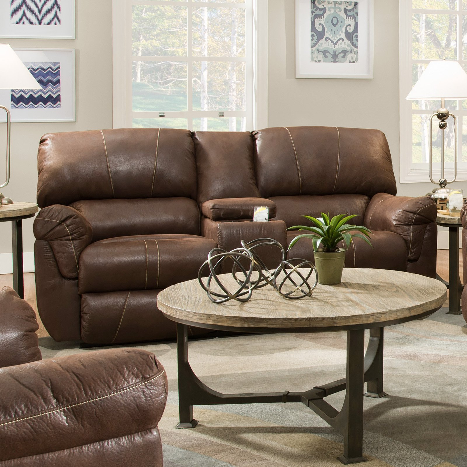 United Furniture Simmons Upholstery Renegade Beautyrest Motion Console Loveseat - Mocha