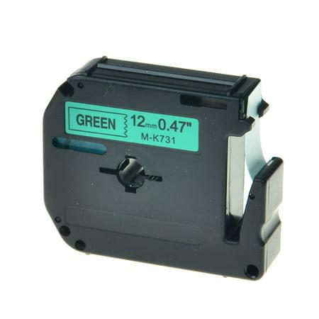 GREENCYCLE 1PK 12mm 8m Black on Green MK731 M731 M-K731 Label Tape Compatible for Brother P-touch PT-100 PT-110 PT-65 PT-70 PT-80 PT-88 PT-90 Label