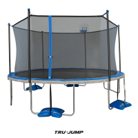 TruJump 14' Trampoline, with Water Anchors, Airdunk, and Enclosure, Blue