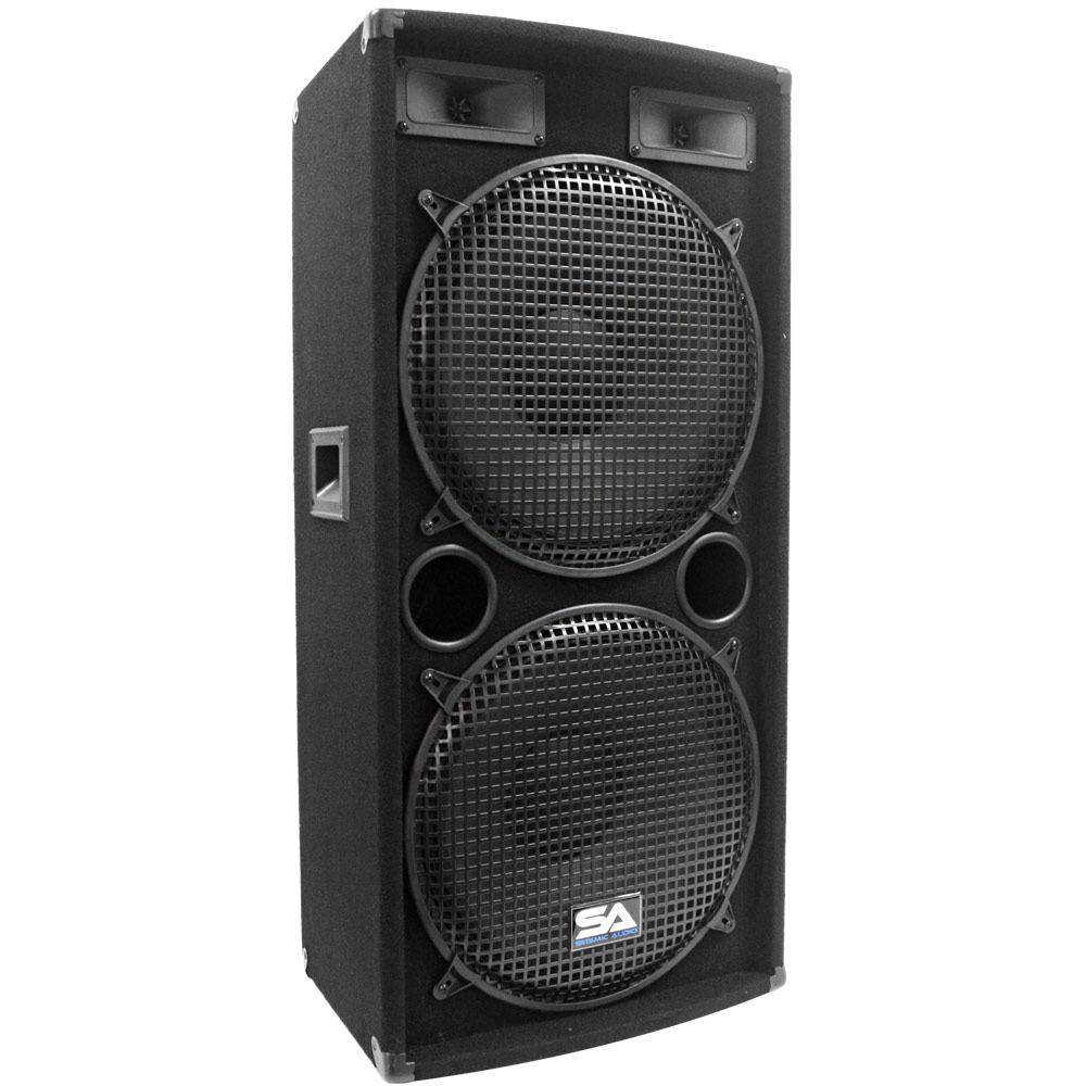 "Seismic Audio Dual 15"" PA DJ SPEAKER 500 Watts PRO AUDIO ~ NEW Band - SA-155.2Single"