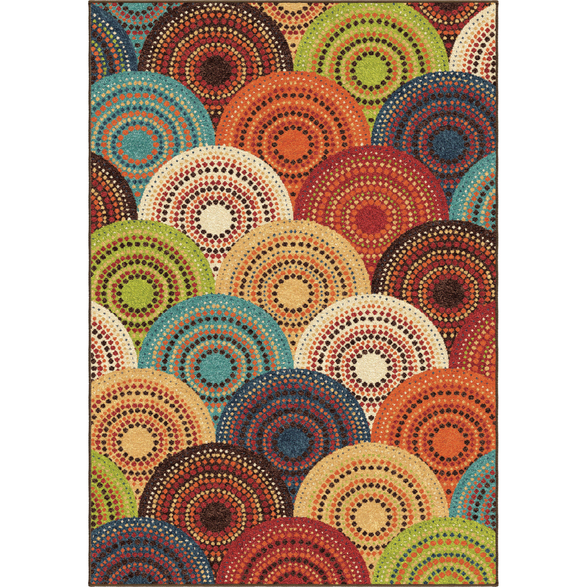 home multi color bright circles area rug 5 39 x7 39 olefin living room carpet ebay. Black Bedroom Furniture Sets. Home Design Ideas
