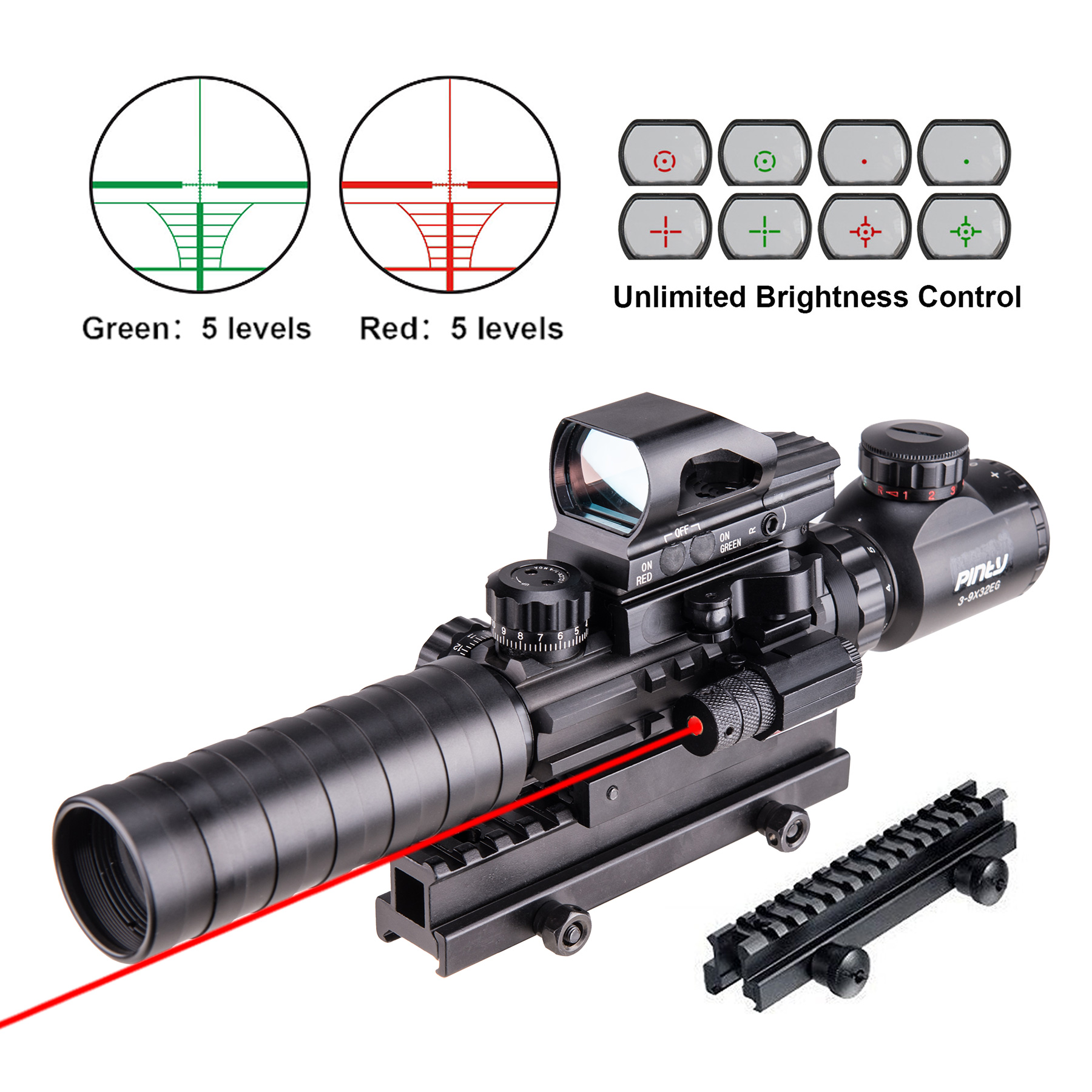 4-in-1 3-9x32EG Tactical Optical Reticle Riflescope Dual Illuminated with Green Laser Sight and Red Green Dot Sight by