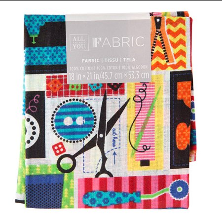 Patterned Quilting Fabric Fat Quarters: Sewing Theme, 18 x 21 in