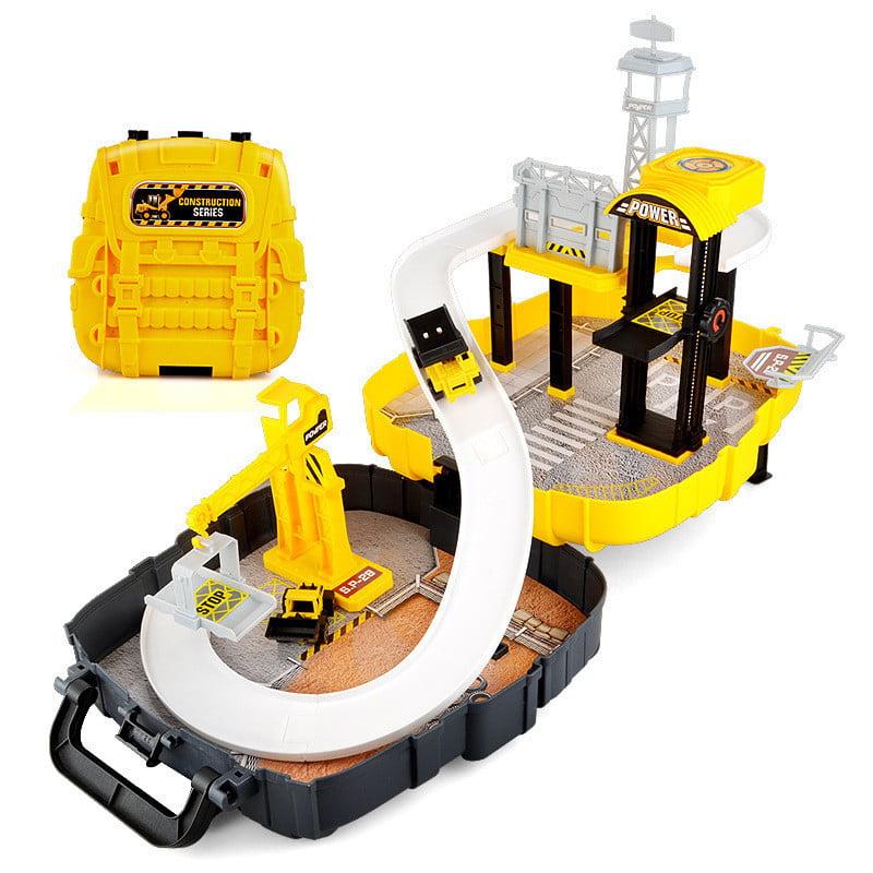 Track Car Parking Lot Set Backpack Racing Game Vehicle Construction Children Kids Toy