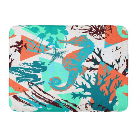 Shabby Rag - GODPOK Creative Abstract Marine Sea Life with Shabby Corals Distorted Star Grunge Splatter Rough Brush Strokes Rug Doormat Bath Mat 23.6x15.7 inch