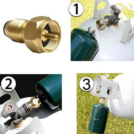 Intbuying Propane Refill Adapter Lp Gas 1 Lb Cylinder Tank Coupler Heater 100% Brass