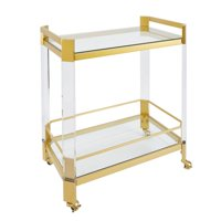 Huxley Acrylic and Gold with Glass Top Bar Cart with Handles