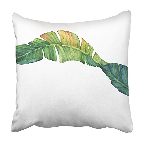USART Green Leaf Exotic Tropical Banana Leaves Watercolor Painting Palm Botanical Pillowcase Cushion Cover 20x20 inch