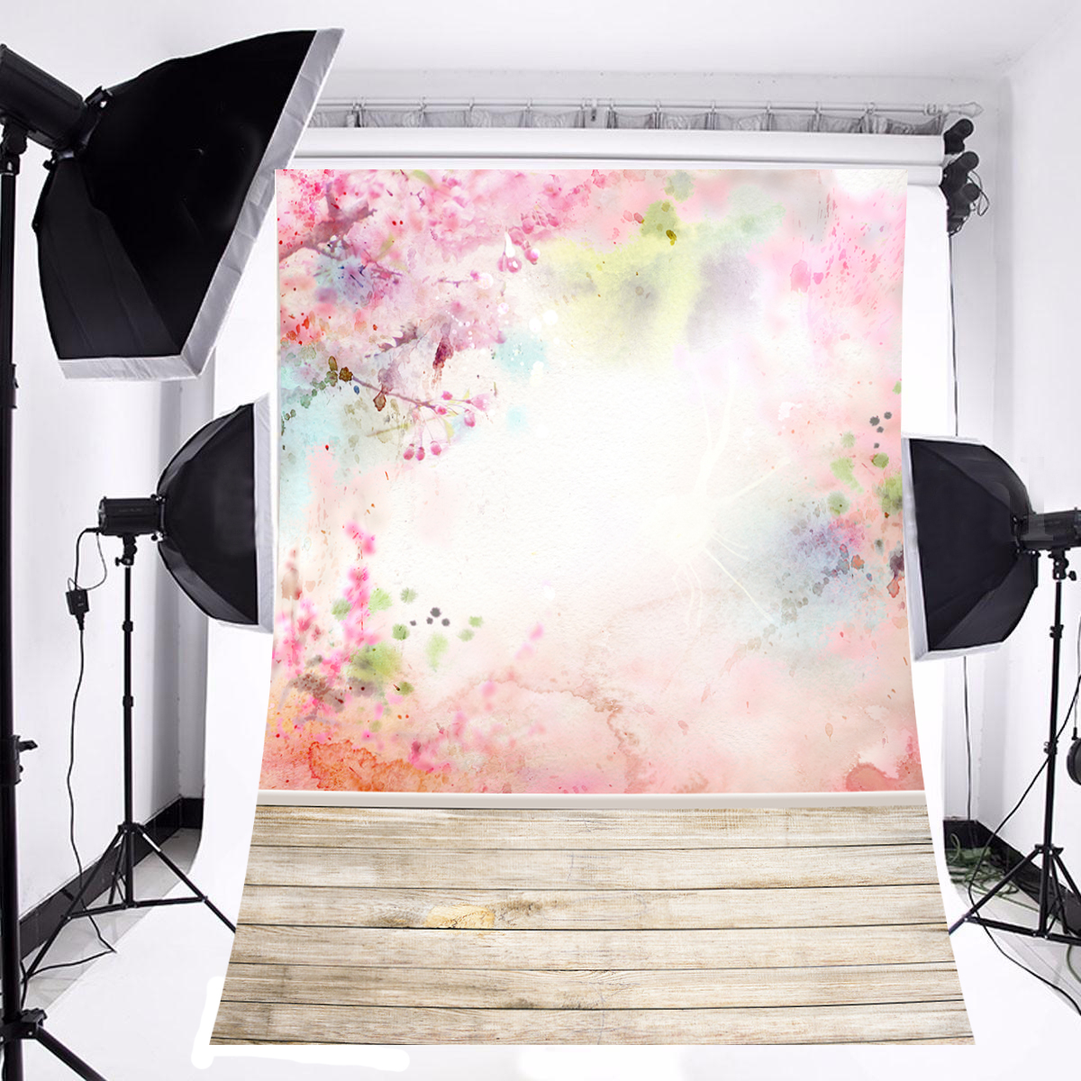NK HOME Studio Photo Video Photography Backdrop 3x5ft Flower Printer & Floor Fresh Style Grace Elegant Printed Vinyl Fabric Party Decorations Background Screen Props