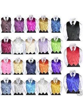 2pc Set Satin Vest + Necktie Baby Toddler Kid Teen Formal Boy Suit 23 Color S-7
