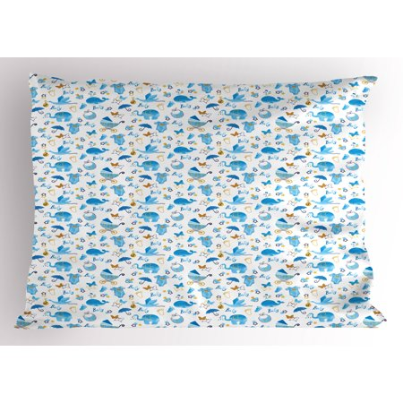 Baby Pillow Sham Its a Boy Stork Carrying a Baby Elephants Clothes Butterflies Cute Symbols Print, Decorative Standard Queen Size Printed Pillowcase, 30 X 20 Inches, Blue Amber Black, by Ambesonne