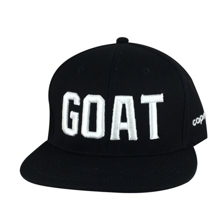 3D Puff embroidery GOAT Baseball Cap Snapback Hat by Caprobot - Black White (Puff Embroidery)