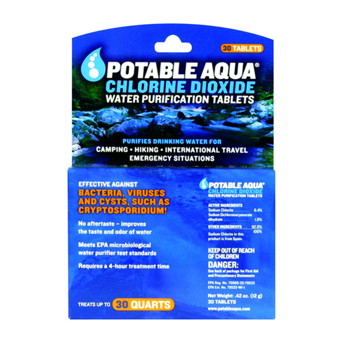 Chlorine Dioxide Water Purification Tablets By Potable Aqua  - 30 Ea