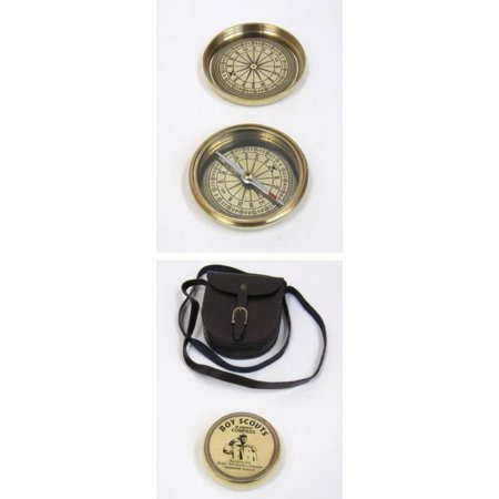 Boy Scout Compass (India Overseas Trading BR48391 - Solid Brass Boy Scout Compass w/ Faux Leather)