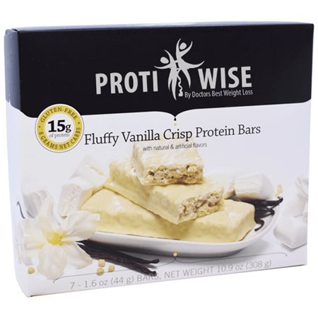 ProtiWise - High Protein Diet Snack Bars | Fluffy Vanilla Crisp | Low Calorie, Low Fat, LowSugar, High Fiber, Gluten Free