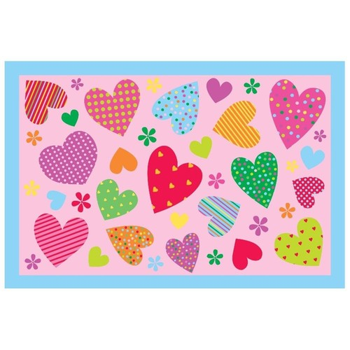 Fun Time Hearts Pink 19 In. x 29 In. Kids Rug