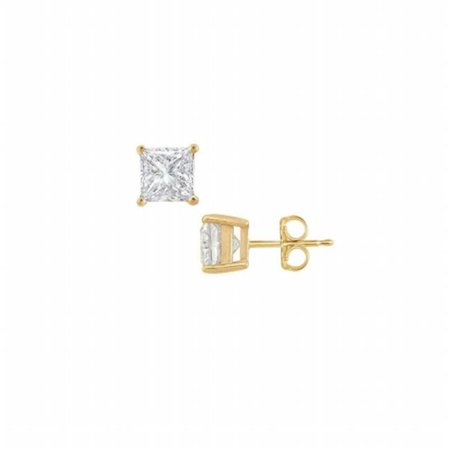Fine Jewelry Vault UBERAGVYSQ100CZ 18K Yellow Gold Vermeil Princess CZ Stud Earrings - 1 CT TGW , 2 (Vermeil Plated Earring Studs)