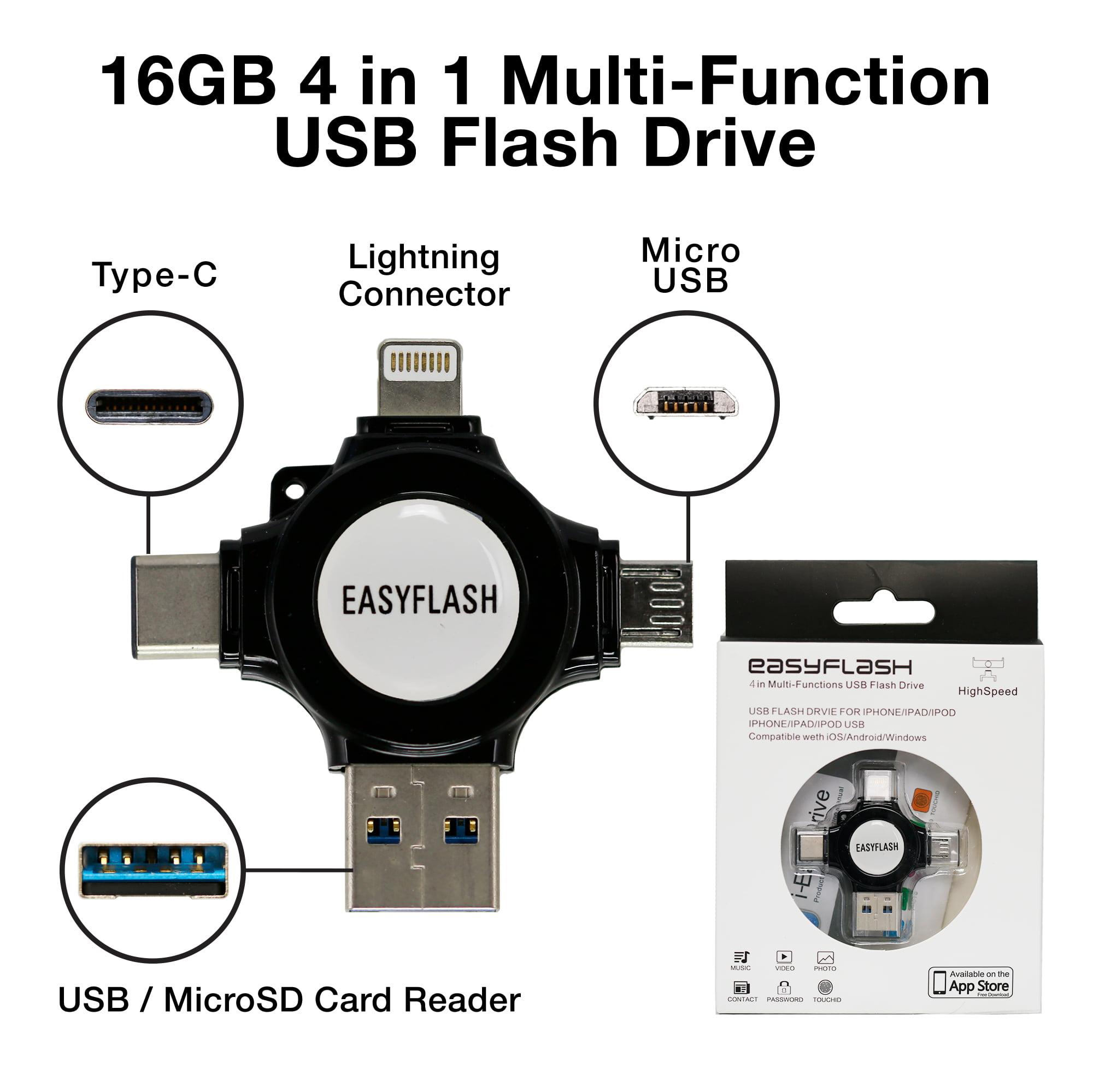 4in1 (Type C & Lightning & MicroUSB & USB3.0/MicroSD Card Reader) Multi-Function USB Flash Drive - (16GB) Black