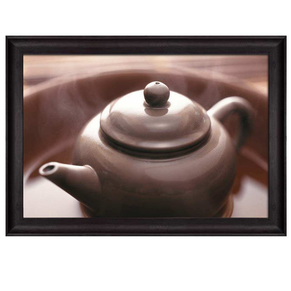 wall26 - Steaming Hot Dark Brown Teapot on a Plate - Framed Art Prints, Home Decor - 16x24 inches