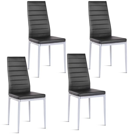 Leather Side Chair Set - Costway Set of 4 PU Leather Dining Side Chairs Elegant Design Home Furniture Black