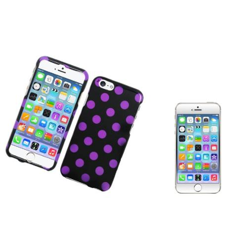 Insten Polka Dots Hard Rubber Case For iPhone 6 / 6s - Black/Purple (with Tempered Glass LCD Protector)